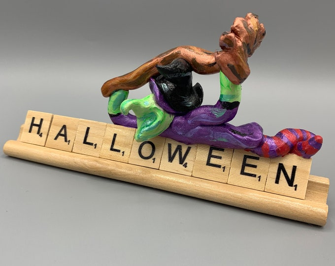 Witchy Witch Halloween Scrabble Desk Pal Decoration Art Sculpture