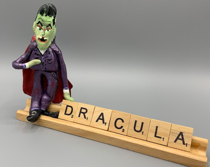 Count Dracula Halloween Scrabble Desk Pal Decoration Art Sculpture