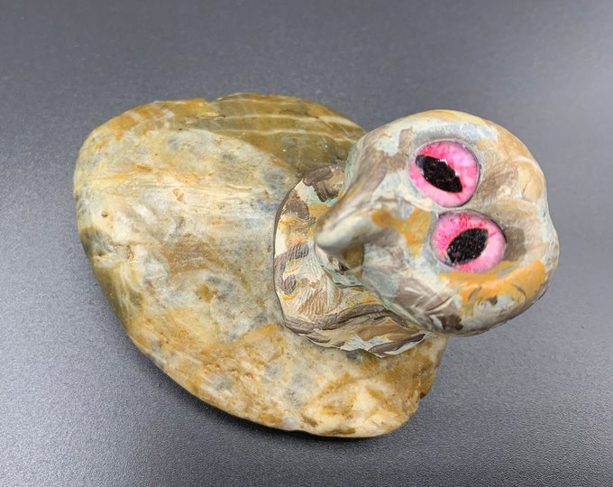 Pink Eyed Pet Rockster Magical Rock desktop treasure Hand Painted one-of-a-kind Sculpture Stone Sculpture no. 38 Desk Pal