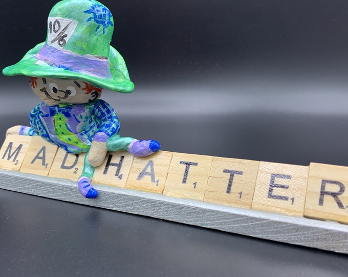Mad Hatter Wonderland Scrabble Art