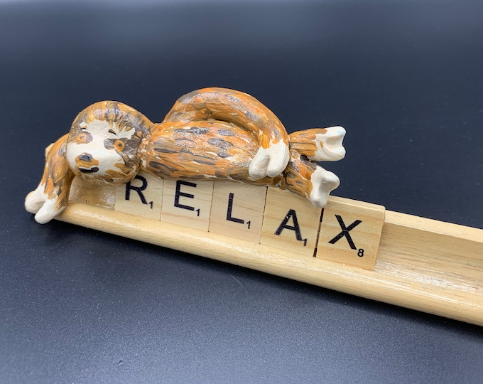 Lazy Day Sloth the two-toed hand painted Tiny Miniature Sculpture original art Desk flair for the tired and zen desk