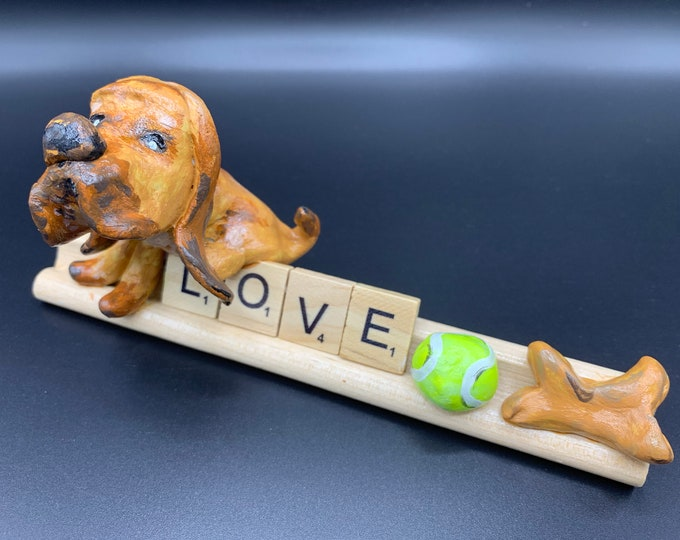 Sweet Bloodhound Puppy Love desk office Handpainted Sleuth hound Art sculpture for the dog lover