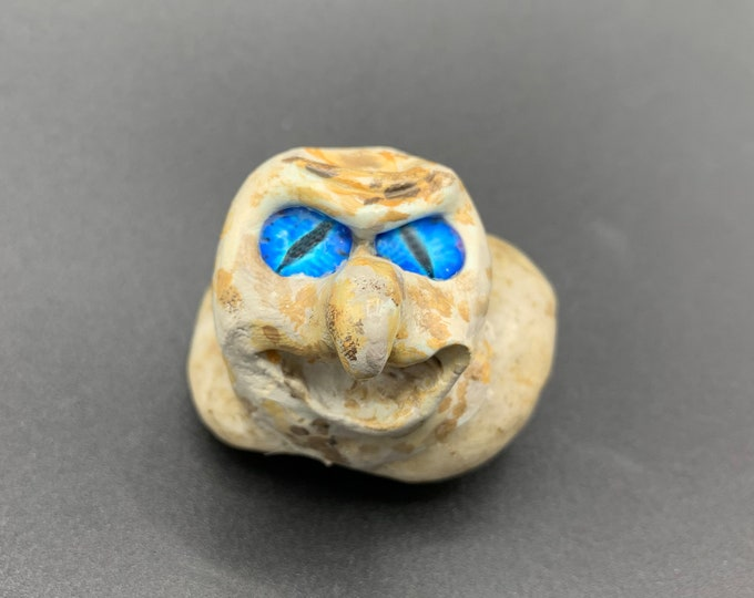 Cute yet Eerie and Unearthly Pet Rocks no. 14 fun creature for Deskstops, fairy gardens and windowsills Mystifying Pets