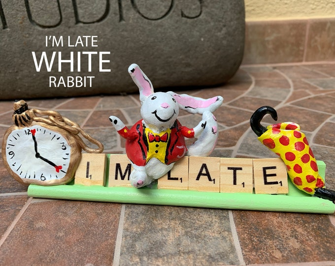 White Rabbit Wonderland Scrabble Art