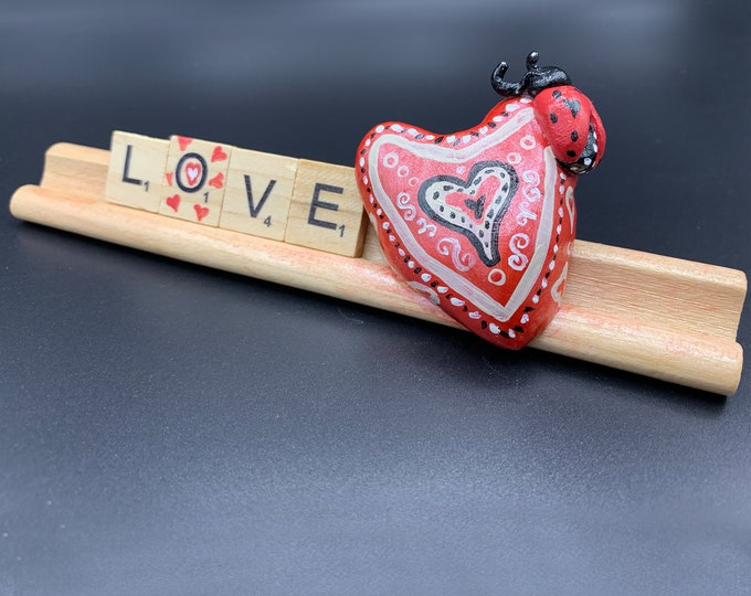 Heart Sculpture Art Office Desk Accessories Shelf Decor Scrabble Gifts for Living Room Original Sculpture Art ooak Sculpture
