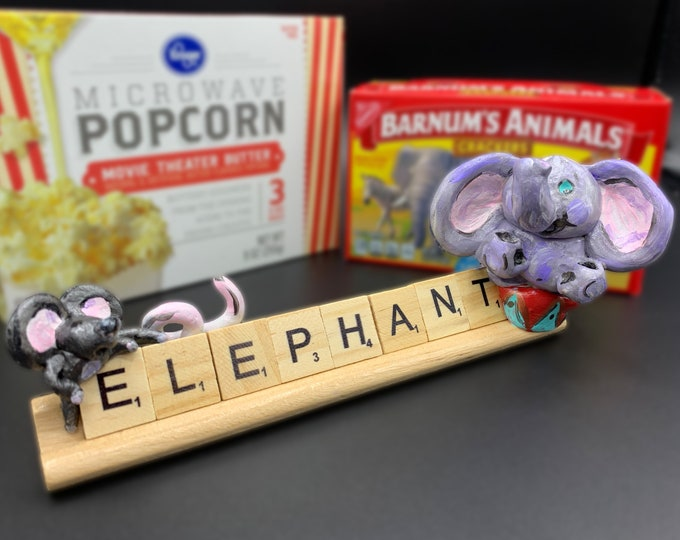 Circus Elephant and Mouse Office Desk Accessories Funny Unique Sculpture Shelf Decor Nursery Sculpture Sculptures Modern Display Artwork