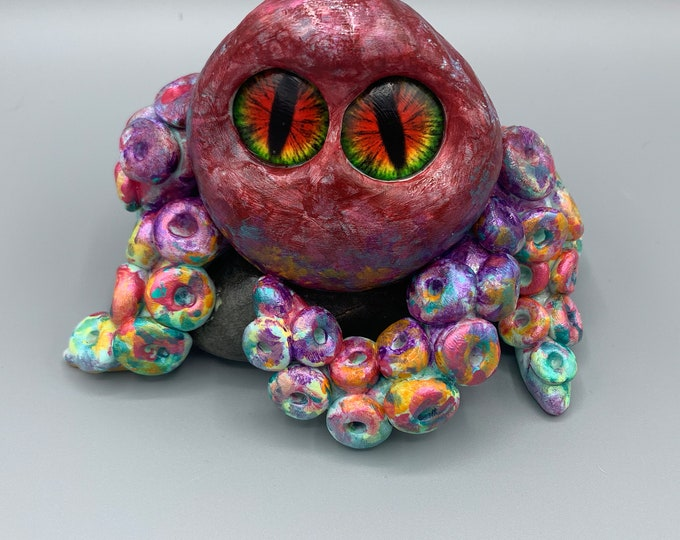 Rainbow the octopus paperweight desk pal art sculpture funny handcrafted sea creature