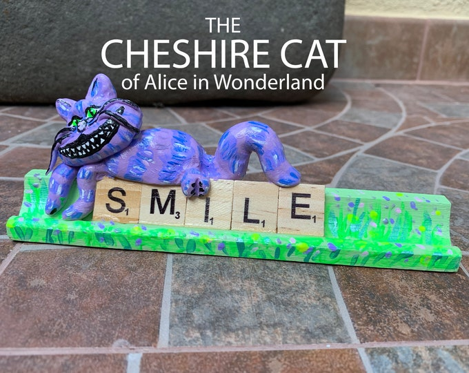 Cheshire Cat Alice in Wonderland Scrabble Gifts Sculpture  Decor Office Desk Accessories Sculpture Figure Decorative Sculptures