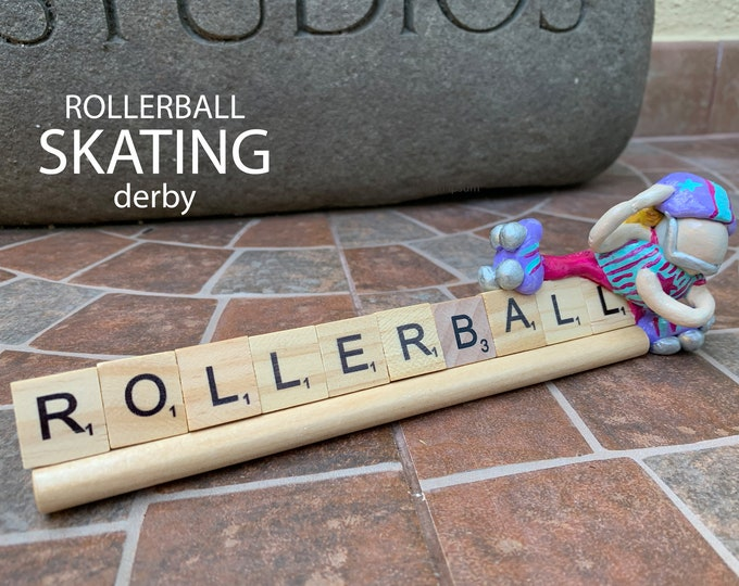 Rollerball Skating Derby Scrabble Desk Pal