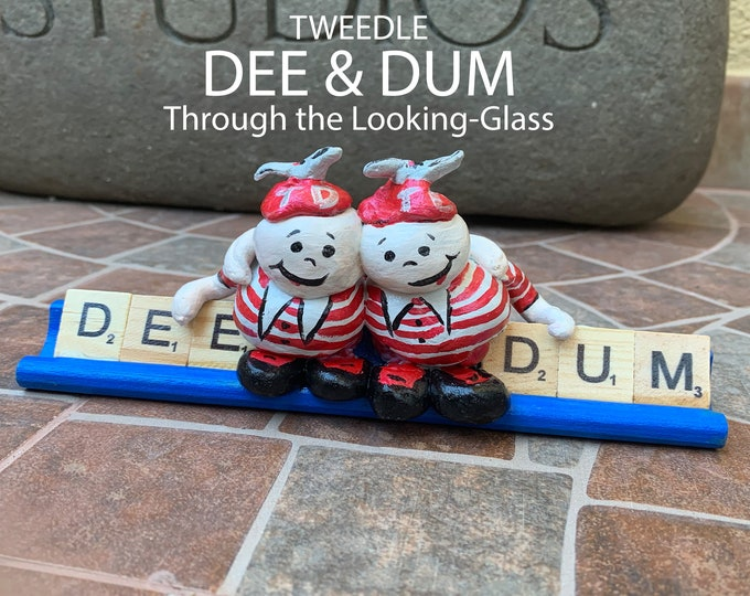 TweedleDee and TweedleDum Wonderland Scrabble Art
