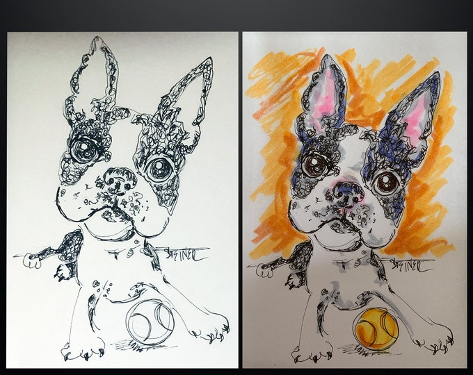 Dog Caricature Hand Illustrated Portraits