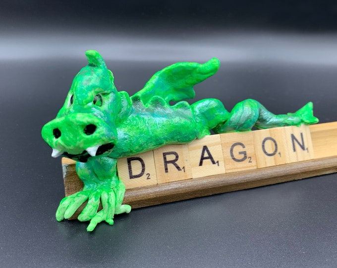 DRAGON Desk Statue Monster Pal Office Desk Accessories Shelf Decor Books Unique Sculpture OOAK serpent Artwork