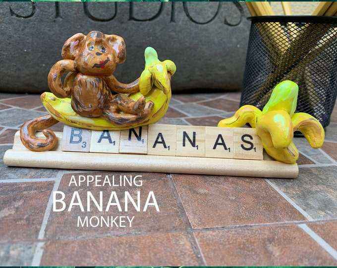 Monkey Bananas Funny Office Desk Accessories Sculpture on Stand Shelves Decor Shelf Decorations for Living Room One of a kind Sculpture