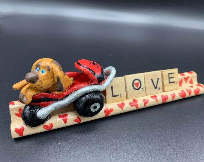 Stroller Puppy Shelf Art Dog Lover Gift Puppy love Scrabble original art desk accessory office flair