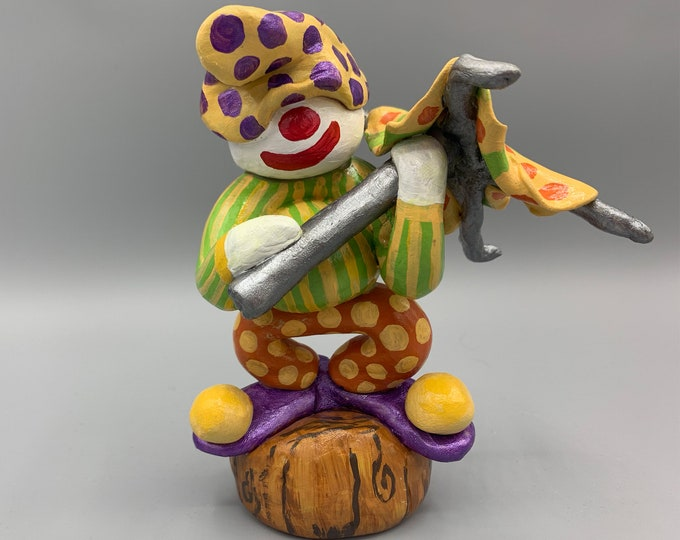 Umbrella Hobo Circus Clown Office Desk Decor Fun Unique Sculpture Shelf Decor Nursery Sculpture Abstract Sculpture Modern Display Artwork