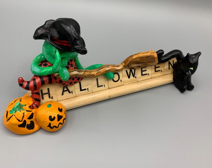 Wacky Witch Halloween Scrabble Desk Pal Decoration Art Sculpture