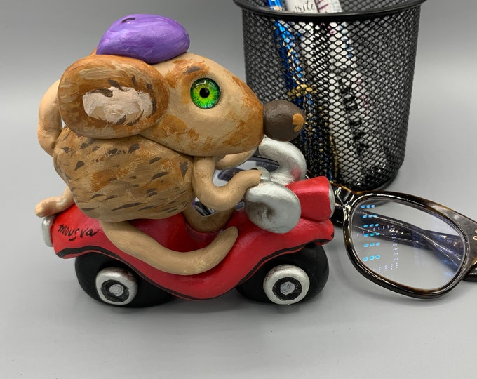 Mr Mouse on a motorcycle Desk Sculpture Pet