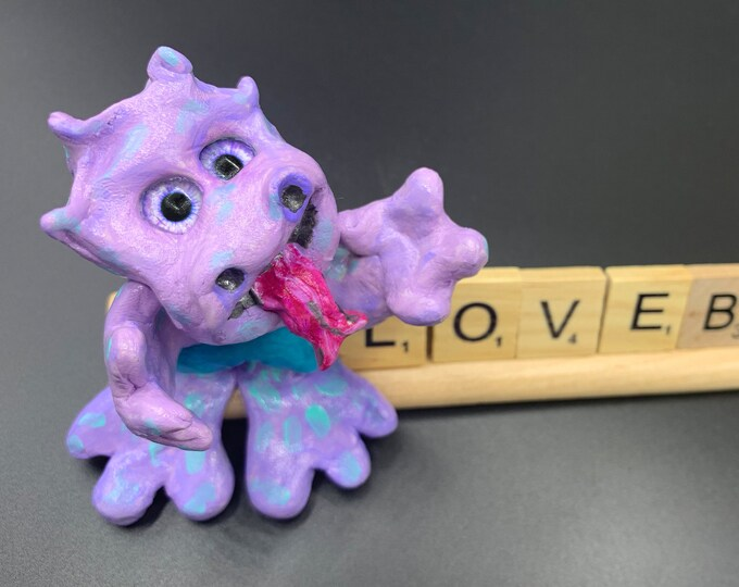 Monster Art Office Desk Accessories Shelf Decor Scrabble Gifts Shelf Decorations for Living Room Original Sculpture Art ooak Sculpture