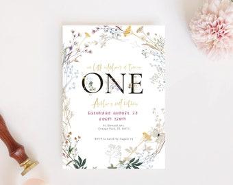 Wildflower Birthday Invitation | Our Little Wildflower Invite | Editable Girls 1st Birthday Invitation | Wild Flower Garden Birthday