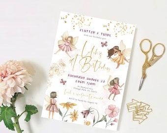 Fairy Garden Birthday Invitation | Fairy Princess Birthday Party | Editable Girls 1st Birthday Invite | Instant Download Printable Template