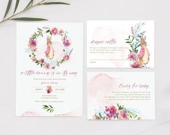 Flopsy Rabbit Baby Shower Invitation Set | Editable Flopsy Bunny Baby Shower Invite Printable | Books For Baby Card | Diaper Raffle Ticket