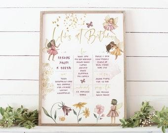 Fairy Milestone Board | Printable 1st Birthday Stats Poster | Fairy Milestone Sign | Girls Milestone Poster | Fairy Garden First Birthday