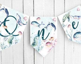 Under the Sea Party Bunting | Printable Ocean Animal 1st Birthday Banner  | Ocean Party Decoration | Editable Template | INSTANT