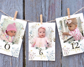 Wildflower Monthly Photo Banner  | Printable Little Wildflower 1st Year Birthday Banner | Wildflower Garden Party Decor | Editable Template