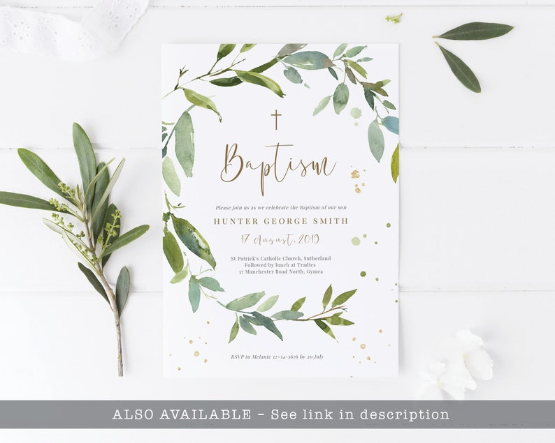 Greenery Wreath Baptism Thank You Card Template Editable ...