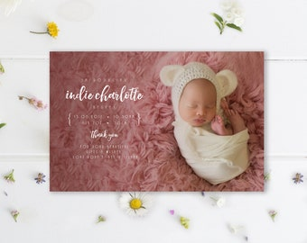 Birth Announcement, Baby Photo Card, Baby Thank you, Newborn baby