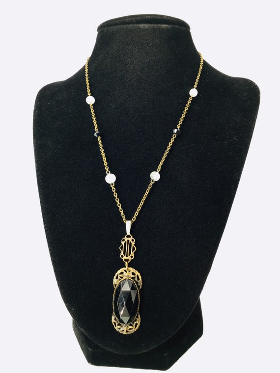 Edwardian Necklace Black Glass Brass Antique