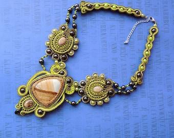Soutache Necklace, Gold & Green Bib Necklace, Valentine's Day Necklace, Boho Soutache Necklace, Choker Soutache Necklace, Gift for Her