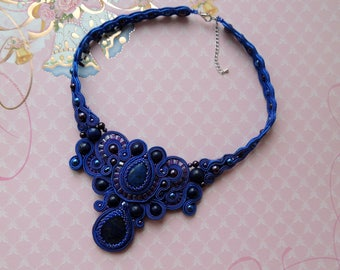 Soutache Necklace, Blue Bib Necklace, Valentine's Day Necklace, Boho Soutache Necklace, Choker Soutache Necklace, Gift for Her