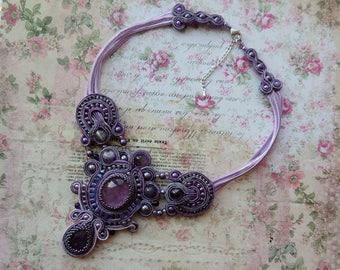 Soutache Necklace, Purple Amethyst Bib Necklace, Valentine's Day Necklace, Boho Soutache Necklace, Choker Soutache Necklace, Gift for Her