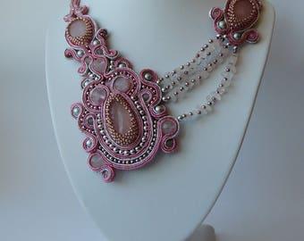 Soutache Necklace, Pink Bib Quartz Necklace, Valentine's Day Necklace, Boho Soutache Necklace, Choker Soutache Necklace, Gift for Her