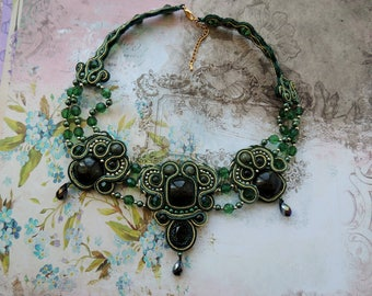 Soutache Necklace, Green Bib Necklace, Valentine's Day Necklace, Boho Soutache Necklace, Choker Soutache Necklace, Gift for Her