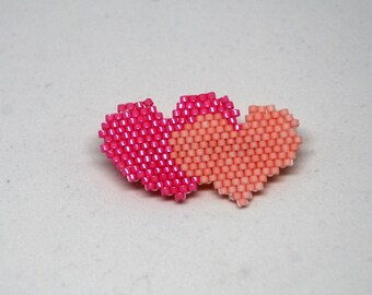 Heart Shaped Pin, Beaded 2 Hearts Brooch, Seed Bead Hearts Brooch, Gift for Her, Heart Jewelry, Valentine's Day Woman Gift