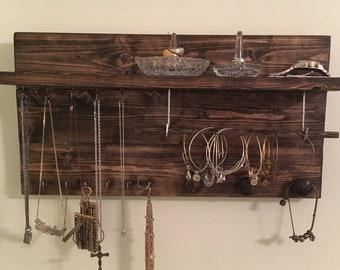 Reclaimed Wood Wall Mounted Jewelry Shelf Organizer with Necklace/Bracelet Rod