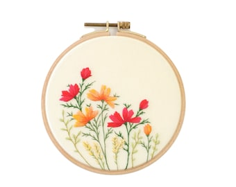 Flower Embroidery Hoop Art with wild blossom . Wall Hanging. Hand Embroidered Hoop. Wall Decor.