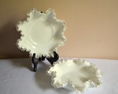 Vintage Bowls, Silvercrest by Fenton, Double Crimped Ruffle Edged, Set of 2