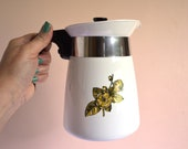 Vintage Coffee Pot, Corning Natures Bounty Brew N Serve 8 Cup, Mustard Yellow Flowers, Leaves, and Berries, P 508 1971