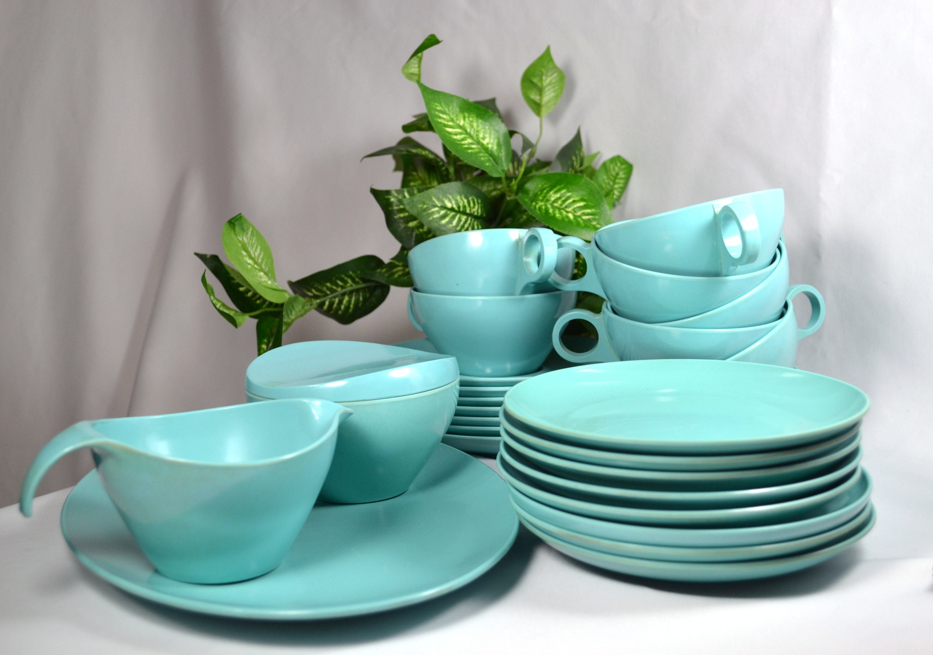 Vintage Melamine Dinnerware Set Turquoise Blue Snack Plates Coffee Cups and Saucers Sugar and Creamer Serving Platter & Vintage Melamine Dinnerware Set Turquoise Blue Snack Plates ...