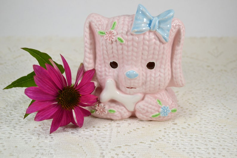 Gift for Knitters Pink Dog Vintage Nursery Planter Knit Texture Ceramic Napcoware Ceramic Puppy with Flowers and Bow Baby Gift