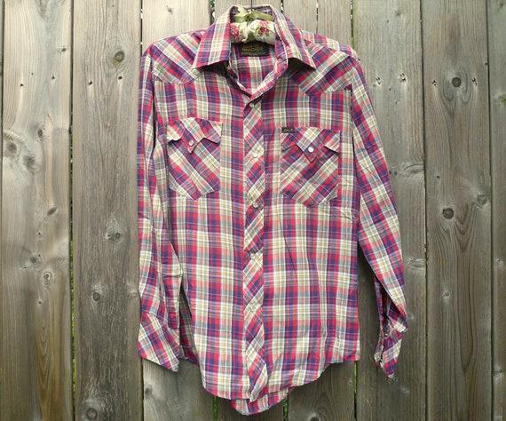 70s/80s Vintage Plaid Western Shirt