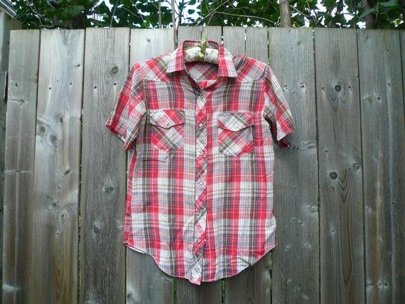Vintage 70s-80s Plaid Western Shirt
