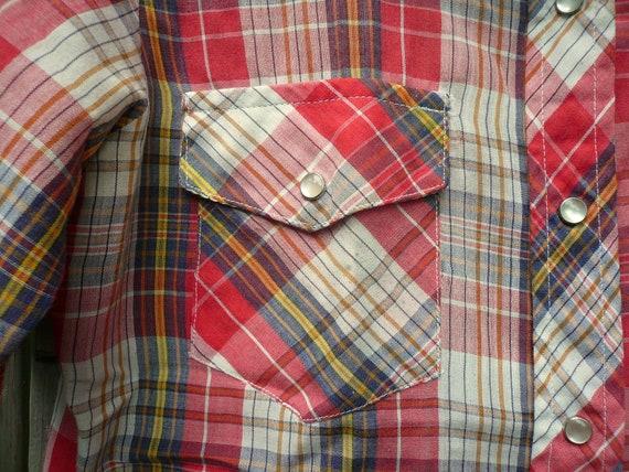 Vintage 70s-80s Plaid Western Shirt - image 3