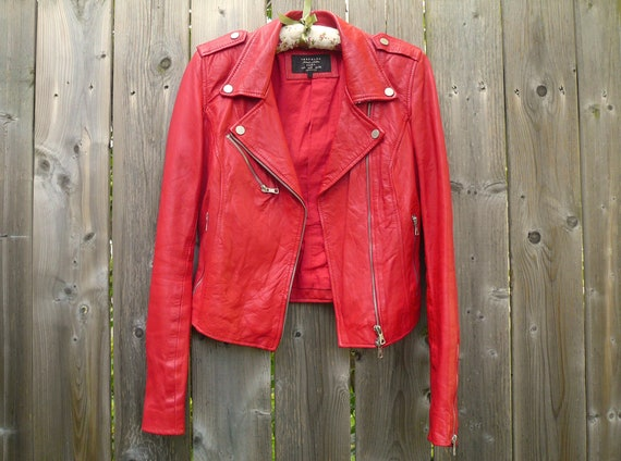 Red Leather Biker/Moto Jacket
