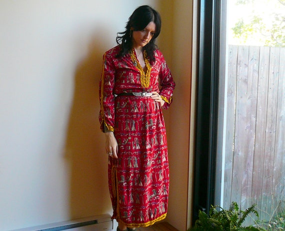 Vintage One of a Kind Ancient Egyptian Motif Maxi