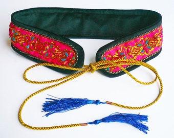 Velvet, Rope, Tassel and Metallic Brocade Ribbon Belt