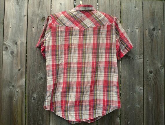 Vintage 70s-80s Plaid Western Shirt - image 4